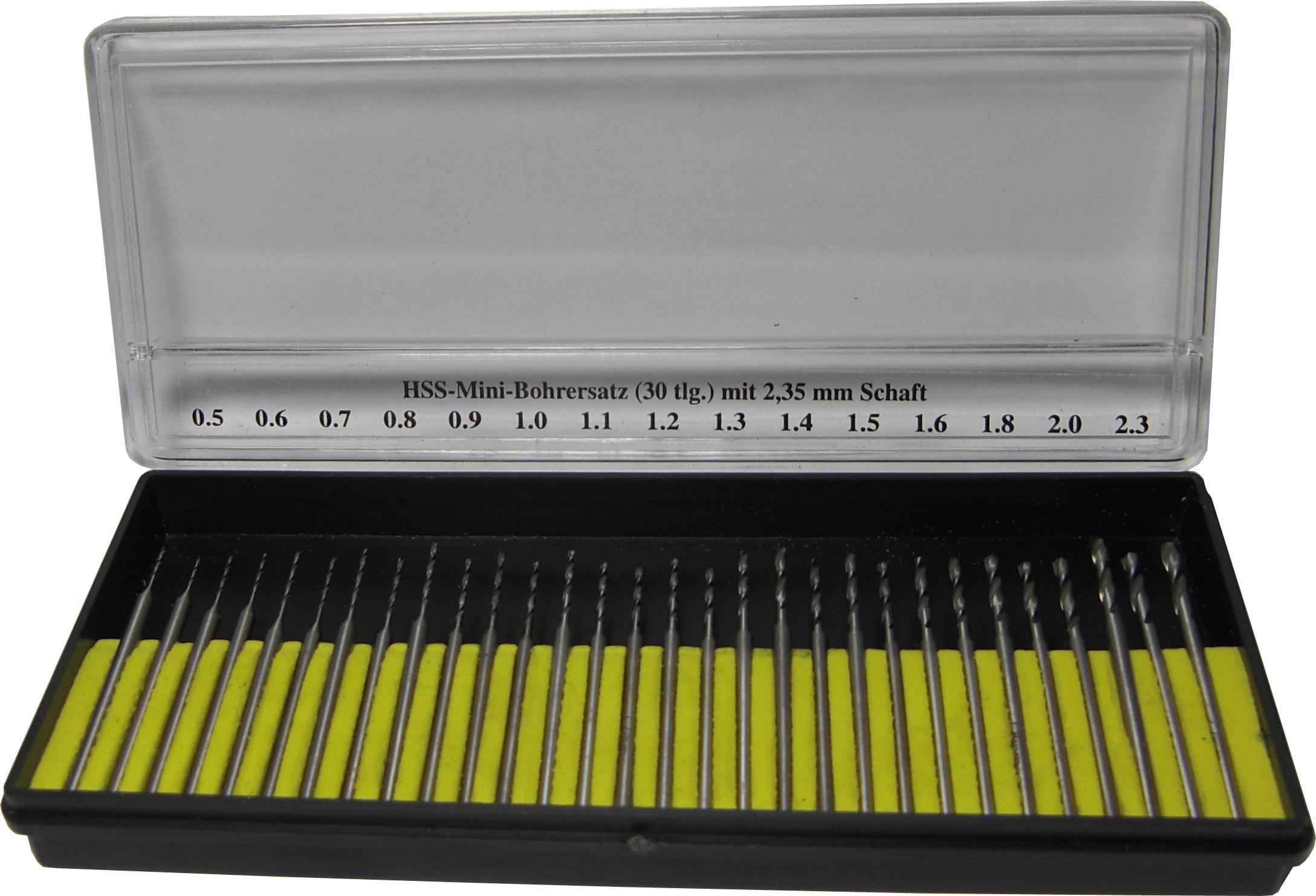 HSS-Mini-Bohrersatz mit 2,35 mm Schaft 30-tlg